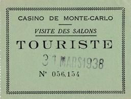 Ticket D'entrée Casino De Monte Carlo 1938 - Tickets - Vouchers