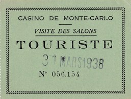 Ticket D'entrée Casino De Monte Carlo 1938 - Tickets D'entrée