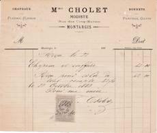 45 MONTARGIS FACTURE 1883  Modiste Chapeaux Mme CHOLET  - X26 Loiret - France