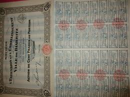 Action De 100 Francs Au Porteur /Société Pour L'Extension Et L'Embellissement De La Ville De BIARRITZ /1928   ACT231 - Tourisme