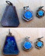 N°4 Lot De 3 Médailles émaillées Bleues St Christophe - Religion & Esotérisme