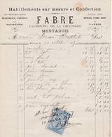 45 MONTARGIS FACTURE 1875 Habillements Sur Mesure Et Confection FABRE- X26 Loiret - France
