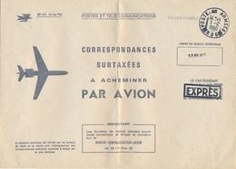 """Enveloppe EXPRES Pour CORRESPONDANCE SURTAXÉES A ACHEMINER PAR AVION """" POSTE AUX ARMÉES 605 FRIEDRISCHHAFFEN Allemagne - Postmark Collection (Covers)"""