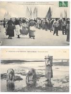 2 Cpa...Port-en-Bessin....au Moment De La Vente...animée...1912..// Pecheuses De Moules.... - Port-en-Bessin-Huppain