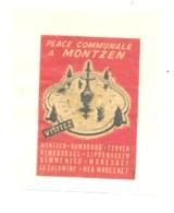 Etiquette De Boîte D'allumettes - Place Communale De MONTZEN  (bac) - Boites D'allumettes - Etiquettes