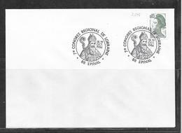 N° 2178 SUR LETTRE OBLITEREE 7ème CONGRES REGIONAL DE LORRAINE EPINAL LE 18 Et 19/10/86 - Marcophilie (Lettres)