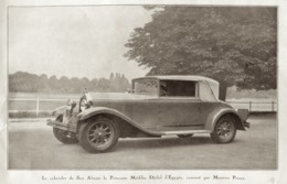 """#20 Reproduction Photo Publicitaire 1928 """"Le Cabriolet De La Princesse Médiha Djélal D'Égypte"""", Sur Carte Postale - Voitures De Tourisme"""