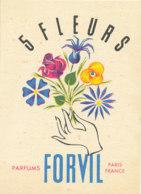 CARTE PARFUMEE - 5 FLEURS  PARFUMS FORVIL PARIS - Perfume Cards