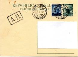 CARTOLINA POSTALE £. 15 DEMOCRATICA - SPEDITA IL 21.8.1950 - 6. 1946-.. Repubblica