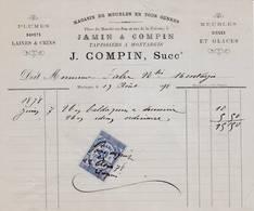 45 MONTARGIS FACTURE 1878 Magasin De Meubles  Tapissiers COMPIN JAMIN   - X26 Loiret - France