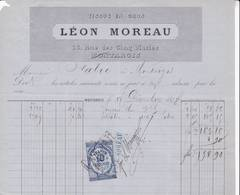 45 MONTARGIS FACTURE 1877 Tissus En Gros Léon MOREAU   - X26 Loiret - France