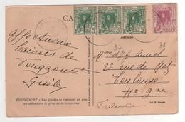 Timbres , Stamps Yvert N° 37 X3 ; 38 Sur Carte , Cp , Postcard De Touggourt De 1929 - Algérie (1924-1962)