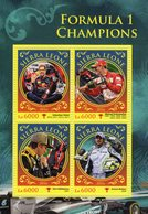 Sierra Leone  -  Formula 1 Champions  -  Vettel-Schumacher-Raikkonen-Button  -  4v Feuillet Neuf/Mint/MNH - Auto's