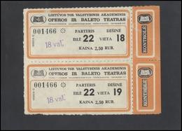 LITHUANIA 1990 VILNIUS City Opera Tickets Pair Of - Vieux Papiers