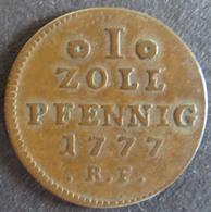 Münze Hessen-Darmstadt 1777 - 1 Zollpfennig Gekrönter Löwenschild Kupfer Ss - [ 1] …-1871 : German States