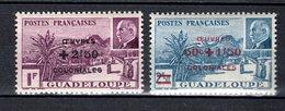 GUADELOUPE N° 173 + 174  NEUFS SANS CHARNIERE COTE 1.90€     PETAIN - Guadeloupe (1884-1947)