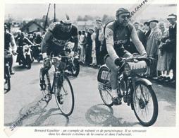 CYCLISME : PHOTO (1956), BORDEAUX-PARIS, BERNARD GAUTHIER, ENTRAINEUR HUGO LORENZETTI, DERNY, COUPURE LIVRE - Cyclisme