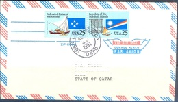 X295- Joint Issue Postal Used Cover. Post From USA To Qatar. Ship. Flag. - United States