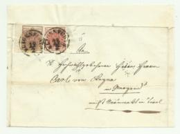 2 FRANCOBOLLI DA 3 E 6 KREUZER IMPERO  KLAGENFURTH 1855 SU FRONTESPIZIO - 1850-1918 Impero