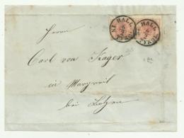2 FRANCOBOLLI DA 3 KREUZER IMPERO HALL IN TYROL  1857 - BUONI MARGINI   SU FRONTESPIZIO - Gebraucht