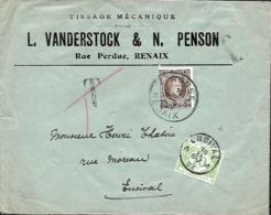 Belgique.  TP 196  L. Ronse/Renais > Ensival  TX 33  1923 - 1922-1927 Houyoux