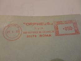 """AFFRANCATURA PUBBLICITARIA """"ORPHEUS """" S.P.A. ROMA -1973 - Affrancature Meccaniche Rosse (EMA)"""