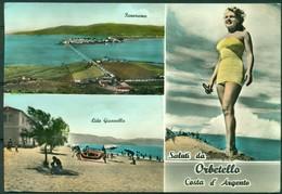 CARTOLINA - CV1698 ORBETELLO (Grosseto GR) Saluti Dalla Costa D'Argento, Con 3 Vedutine, FG, Viaggiata 196…, - Grosseto