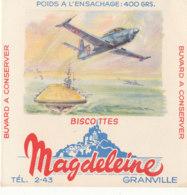 BU 1626-/  BUVARD   BISCOTTES  MAGDELEINE   GRANVILLE   (AVIATION) - Biscottes