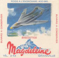 BU 1627 -/  BUVARD   BISCOTTES  MAGDELEINE   GRANVILLE   (AVIATION) - Biscottes