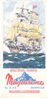 BU 1637 -/  BUVARD    BISCOTTES MAGDELEINE   GRANVILLE  (VOILIER ) - Biscottes