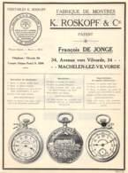MACHELEN-lez-VILVORDE - Fabrique De Montres K. Roskopf & Cie - Dim. A4 - Advertising