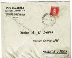 AVIATION , ARGENTINE AEROPOSTE ARGENTIN COMODORO RIVADAVIA-BUENO AIRES 12/9/1929 - Argentine