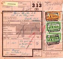 Chemin De Fer COB CF311 Et CF 316 Sur Note D'envoi Ramillies Magasin Jodoigne Vers Bruxelles Ouest 1953 - Chemins De Fer