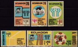 Ecuador, 1978, 1782/87, Fußballweltmeisterschaft '78, Argentinien. MNH ** - Equateur