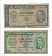 Cap Vert,cabo Verde,lot De 2 Billets Usés Ayant Circulés,1958 - Cape Verde