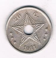 20 CENTIMES 1911  BELGISCH CONGO /1258/ - Belgisch-Kongo & Ruanda-Urundi