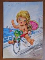 Fiets, Vélo, Bycicle / Fantasiekaart, Jongen Op Fiets (beetje Geschonden) -> Beschreven - Cartes Postales