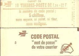 """CARNET 1974-C 2a Sabine De Gandon """"CODE POSTAL"""" Conf.5 Fermé Bas Prix Parfait état RARE - Carnets"""
