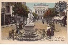 56. LORIENT. CPA COLORISEE. ANIMATION  COURS DE LA BOVE ET LE THÉÂTRE. STATUE DE VICTOR MASSE. ANNEE 1931 - Lorient