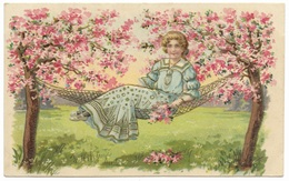 Woman In Hammock Spring Blossom On Trees - 1906 - Embossed & Gilded - Women