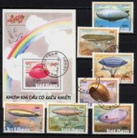 VIETNAM VIET-NAM 1990, London 90 Et Helvetica 90, ZEPPELINS, 7 Valeurs Et 1 Bloc, Oblitérés / Used. R077-81 - Zeppelins