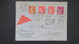 Lettre Par Avion Air Bleu Ligne Bordeaux Toulouse 1 Avril 1936 Affranchissement Paix Semeuse - Marcophilie (Lettres)