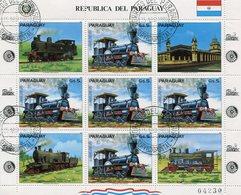TRENES SUDAMERICANOS - PARAGUAY 1983 YVERT TELLIER FEUILLET 1986 COMPLITE SERIE OBLITERES -LILHU - Paraguay
