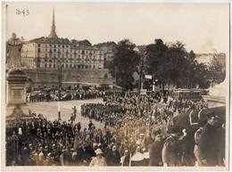 GUERRA FASCISMO FUNERALE MILITARE TORINO PIAZZA GRAN MADRE TRAM N. 21 - GRANDE FOTO ORIGINALE ANNI '30 - Guerra, Militari