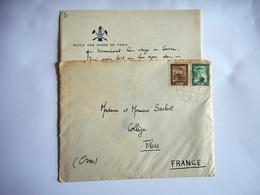 LETTRE MANUSCRITE En Tete ECOLE DES MINES DE PARIS En Voir D' Allemagne SARRE Pour FLERS DANS L' ORNE Date 1952 - Manuscrits