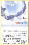 SKIPASS - Dolomiti Superski - Alpe Lusia-S.Pellegrino - Giornaliero Junior - 2018 - Biglietti D'ingresso