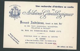 BUVARD: ARCHIVES GENEALOGIQUES BERNARD ANDRIVEAU PARIS FORMAT 21X13,5 - Vloeipapier