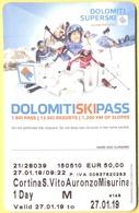 SKIPASS - Dolomiti Superski - Cortina-S.Vito-Auronzo-Misurina - Giornaliero Maschio - 2019 - Biglietti D'ingresso