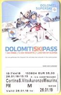 SKIPASS - Dolomiti Superski - Cortina-S.Vito-Auronzo-Misurina - Pomeridiano Maschio - 2019 - Biglietti D'ingresso