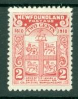 Newfoundland: 1910   Arms    SG96     2c  [Perf: 12]     MH - 1908-1947